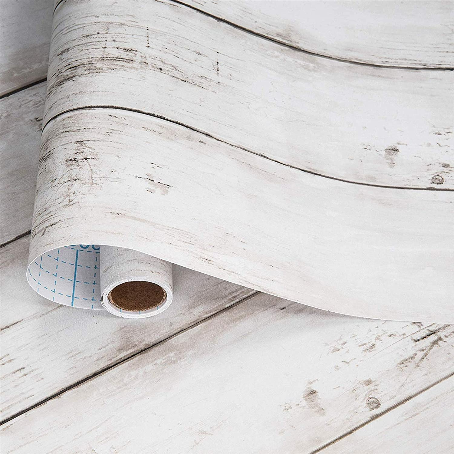 """White Gray Wood Wallpaper 17.71"""" X 118"""" Peel and Stick Removable Decorative Vintage Wood Grey Plank Wall Paper Self-Adhesive Interior Vinyl Film Shiplap for Home Decoration"""