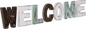 MyGift Multicolored Rustic Wood WELCOME Decorative Cut-out Letter Sign
