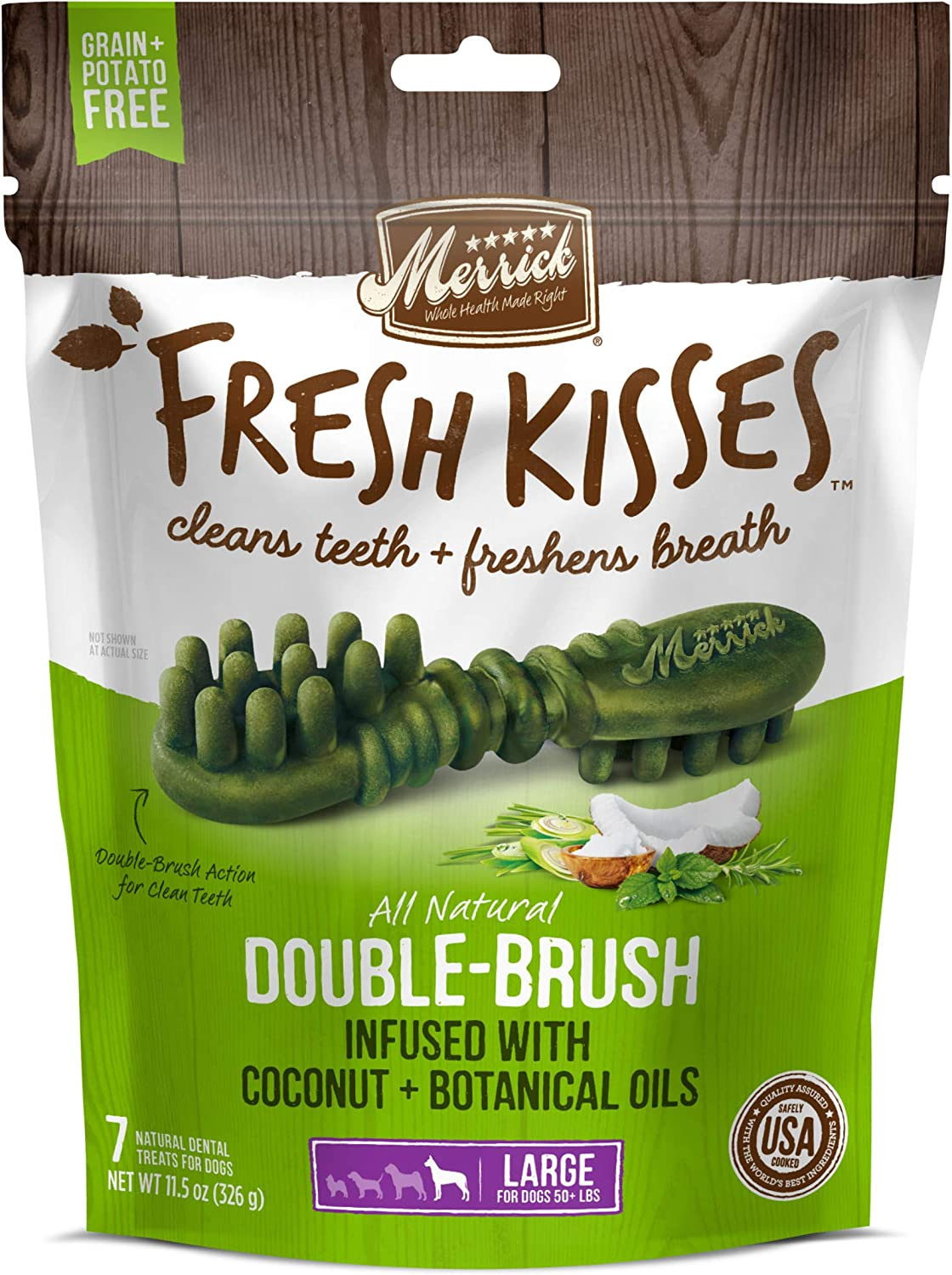 Merrick Fresh Kisses Oral Care Dental Dog Treats for Large Dogs Over 50 lbs