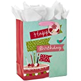 "Hallmark 13"" Large Birthday Gift Bag with Tissue Paper (Birthday Cake Flag, Pink and Blue)"