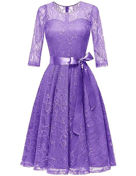 df88517e3c9e Dresstells Donna Vintage Vestito Pizzo Casual Cerimonia Maniche 3 4 Abiti  da Sera Cocktail Vestiti  Amazon.it  Abbigliamento