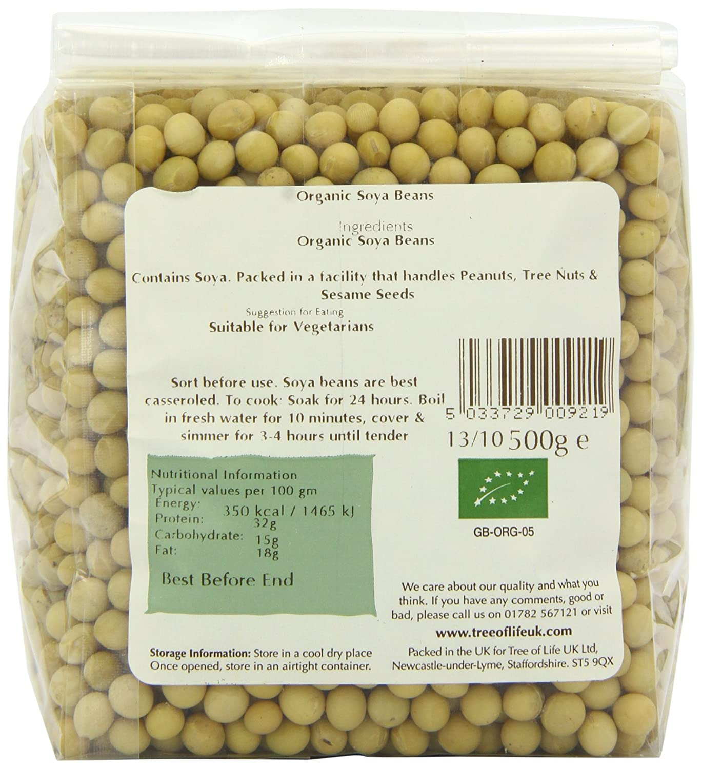 Tree of Life Organic Soya Beans 500 g (Pack of 6): Amazon co uk: Grocery