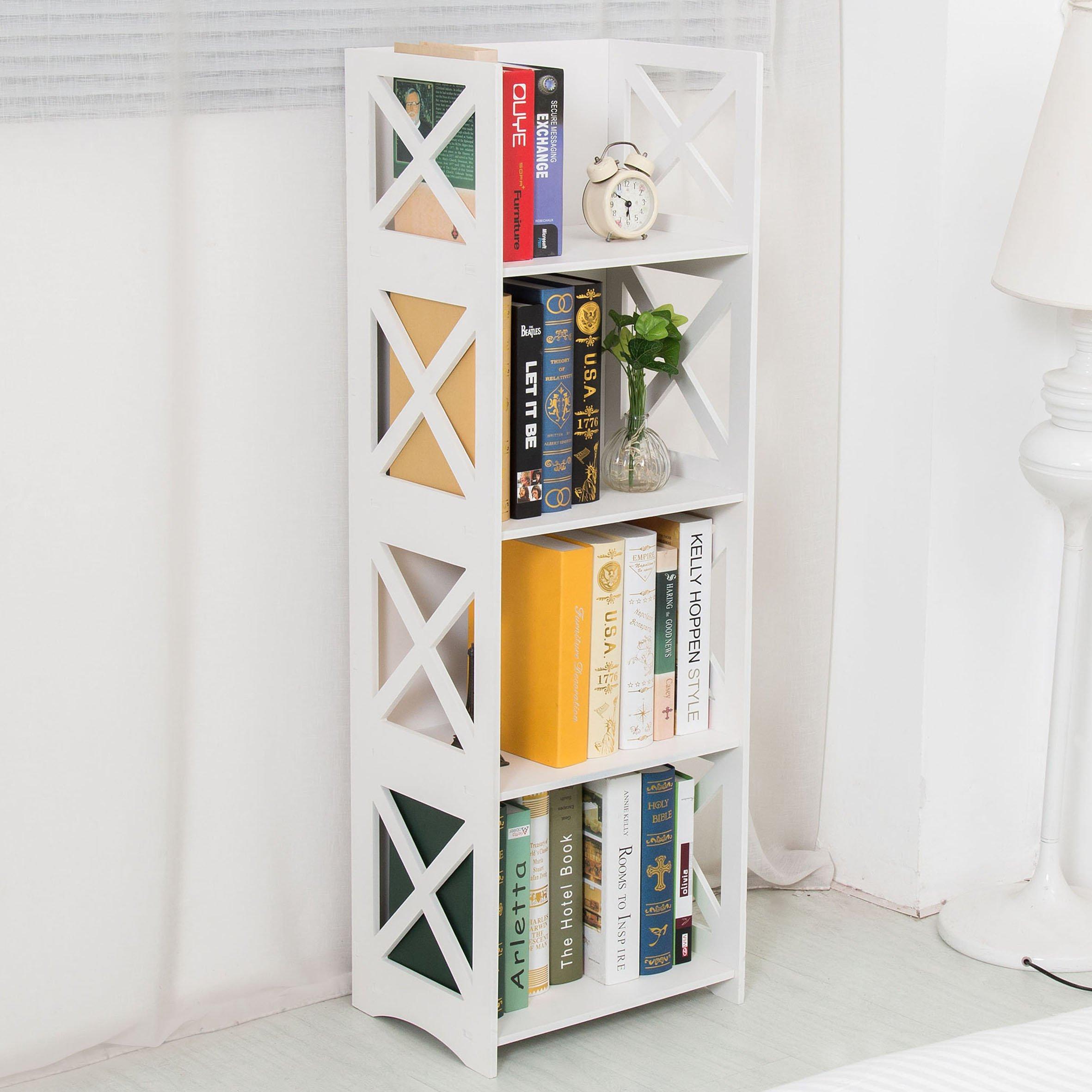 Dline - White Wood&Plastic Storage Shelf - Bookcase (4C)