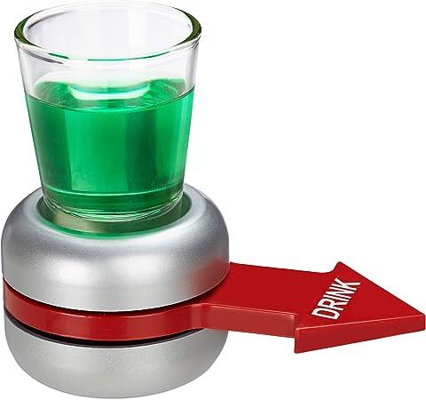 Relaxdays Juego Spin The Shot, Girar la Flecha Roja, Divertido para Beber Chupitos, 10x11,5x6 cm, Cristal-Plástico, Gris: Amazon.es: Hogar