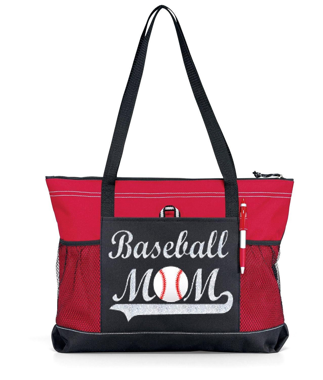 Glitter Baseball Momトートバッグ。大きな赤にシルバーグリッタートートバッグ