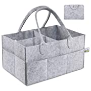 Pandiee Baby Diaper Caddy - Diaper Tote Organizer | Nursery Storage Bin | Portable Car Storage for Diapers Wipes and Toys | Changing Table Organizer | Baby Shower Gift Basket for Newborn Registry