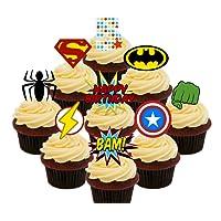 5º cumpleaños Superhero Cupcakes Comestible stand-up barquillo – Decoración para tartas