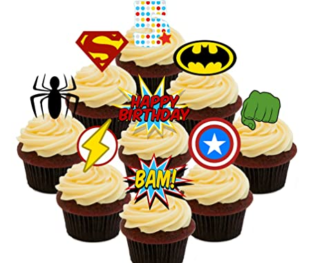 5º cumpleaños Superhero Cupcakes Comestible stand-up barquillo – Decoración para tartas, Pack of 36