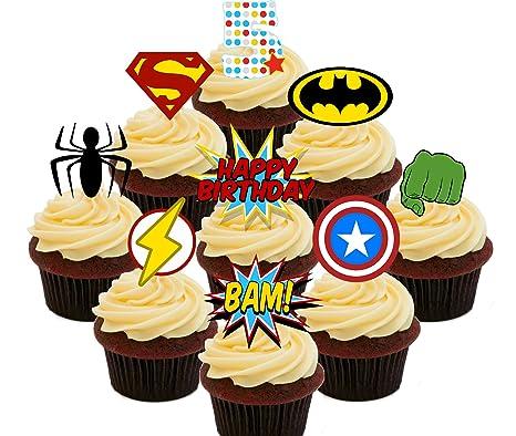 5º Cumpleaños Superhero Cupcakes Comestible Stand Up Barquillo Decoración Para Tartas Pack Of 36