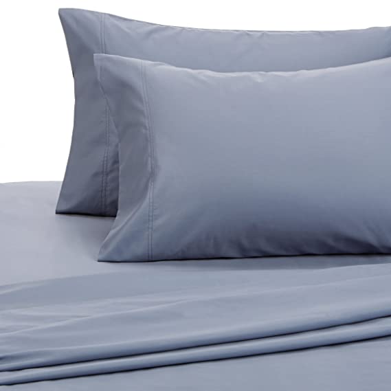 Amazon.com: Pinzon 500 Thread Count Pima Cotton Sateen Sheet Set   Queen,  Flint Blue: Home U0026 Kitchen
