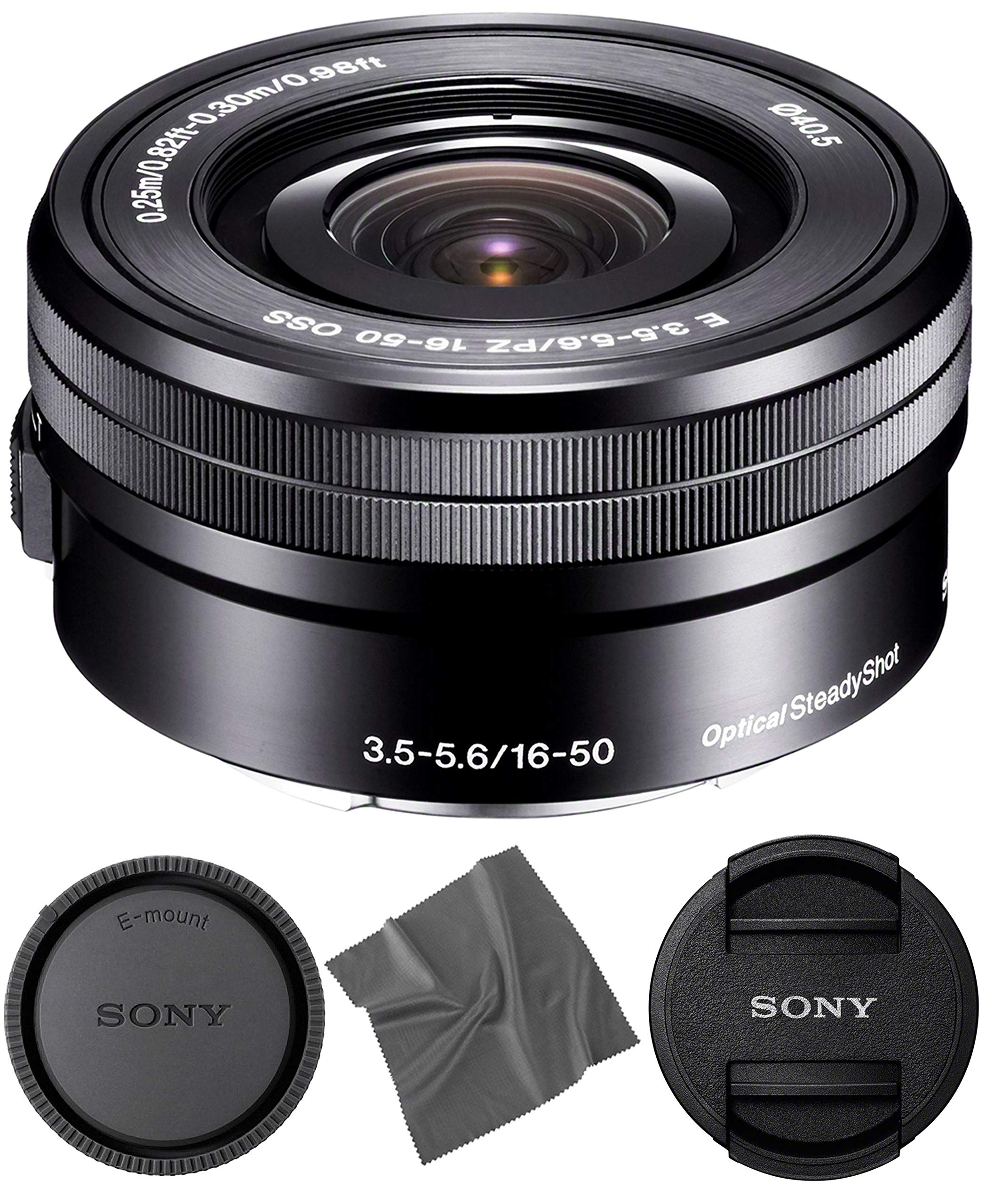 Sony SELP1650 16-50mm OSS Lens: Sony E PZ 16-50mm f/3.5-5.6 OSS Lens (Black) + AOM Pro Starter Bundle Kit Combo - International Version (1 Year AOM Warranty) by AOM
