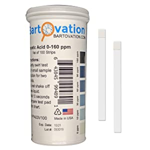 Peracetic Acid Test Strips, 0-160 ppm [Double Comparable Offers, Vial of 100 Strips]
