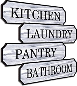 Yookeer 4 Pieces Farmhouse Decor Wooden Signs Kitchen Pantry Sign Laundry Room Decor Family Inspirational Decorative Signs Printed Laundry Kitchen Pantry Bathroom for Home Dinning Room Decor