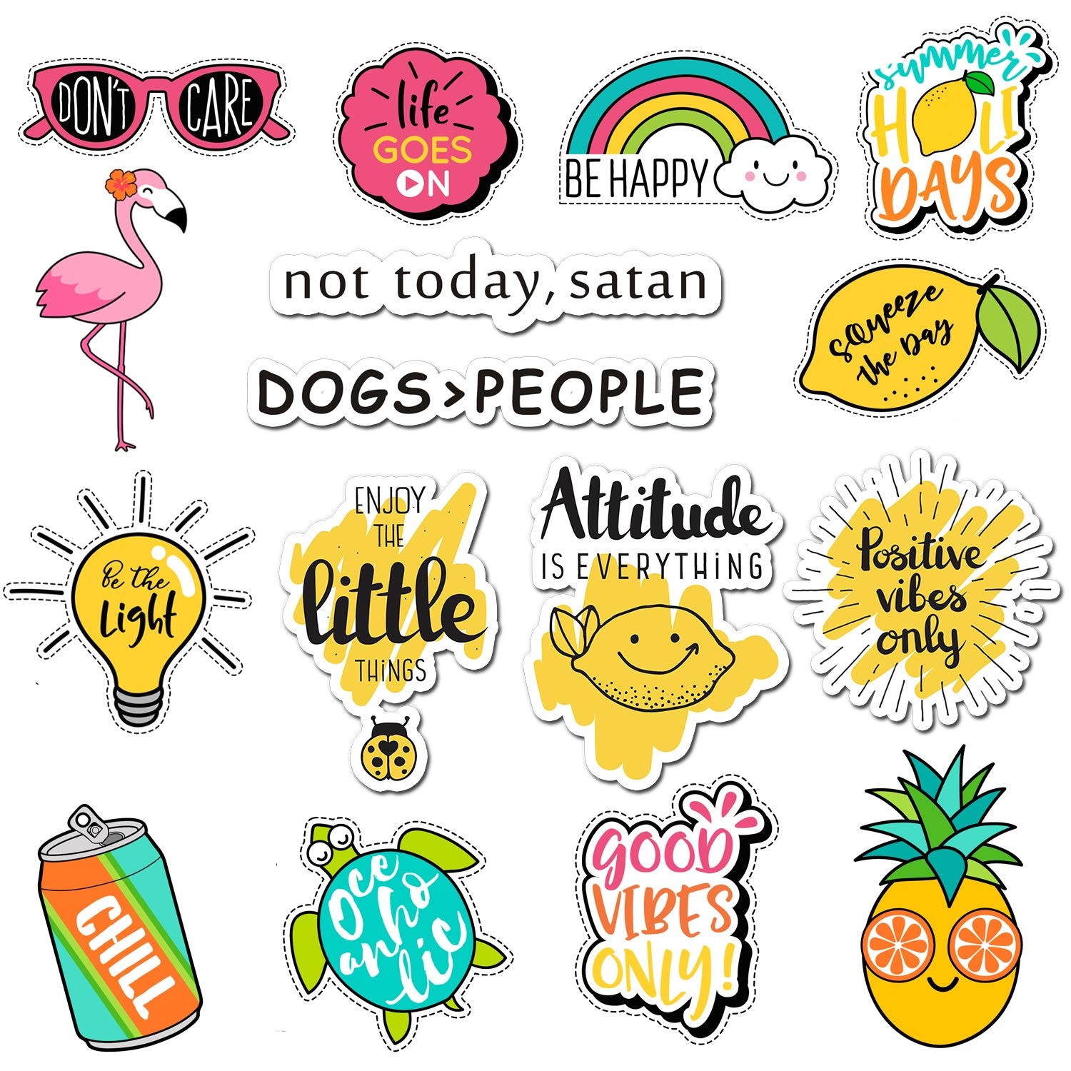 Cute Aesthetic Stickers 57pcs Positive Lovely Trendy Sticker For Laptop Hydro Flasks Water Bottles Mac Computer Phone Pad Guitar Yellow Pink