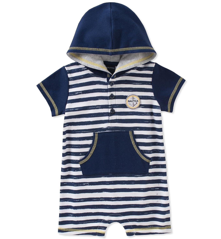 Nautica Baby Boys Hooded Romper