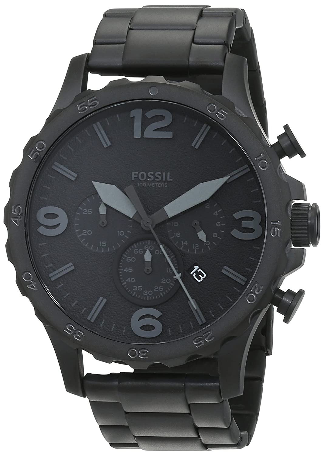 Fossil Men's Nate Quartz Stainless Steel Chronograph Watch, Color Black (Model: Jr1402) by Fossil