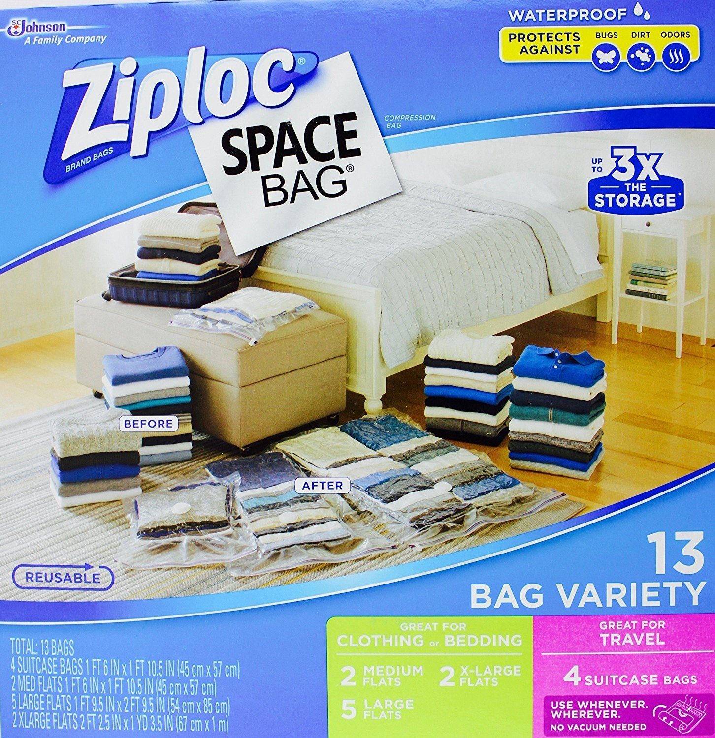 Ziploc Space Bag- Vacuum Seal Bag- 13 Bag Variety- 4 Travel, 2 Med, 5 Lrg, 2 XL Space Bags 883668