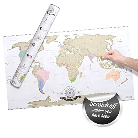 Amazon scratch off world map deluxe personalized travel map scratch off world map deluxe personalized travel map poster xxl gumiabroncs Images
