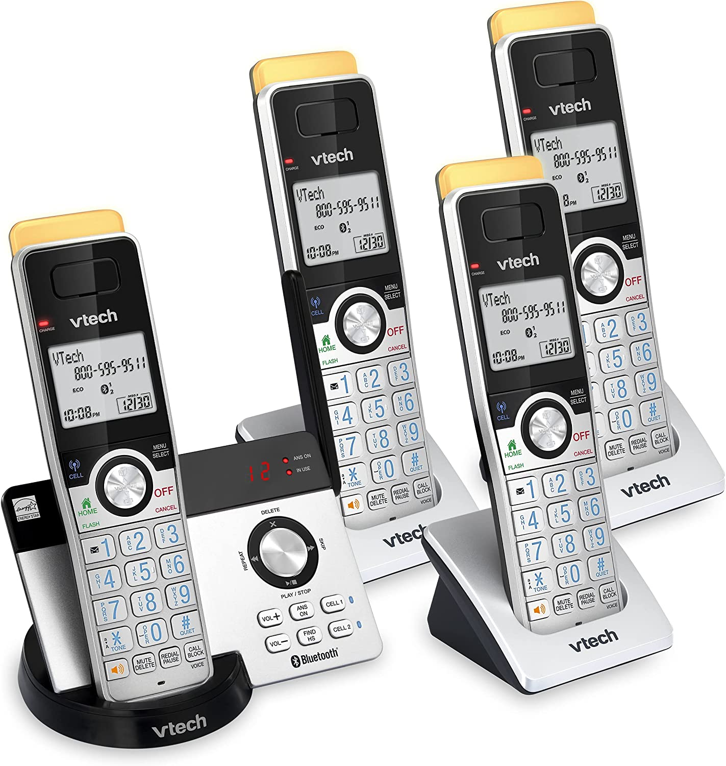 VTECH IS8121-4 Super Long Range up to 2300 Feet DECT 6.0 Bluetooth 4 Handset Cordless Phone for Home with Answering Machine, Call Blocking, Connect to Cell, Intercom and Expandable to 5 Handsets
