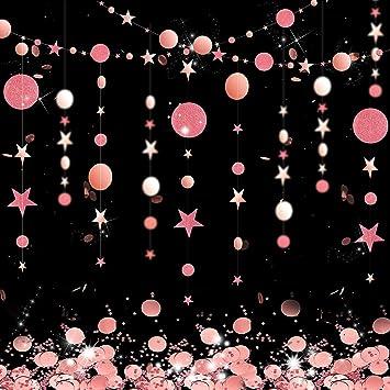 Rose Gold Kreis Punkt Girlande Luftschlange Kit Glitzen Stern Hängend Bunting Glitzer Reflektierende Banner Hintergrund Mit Runden Und Stern Seidenpapier Party Tisch Konfetti Für Verlobung Hochzeit Spielzeug