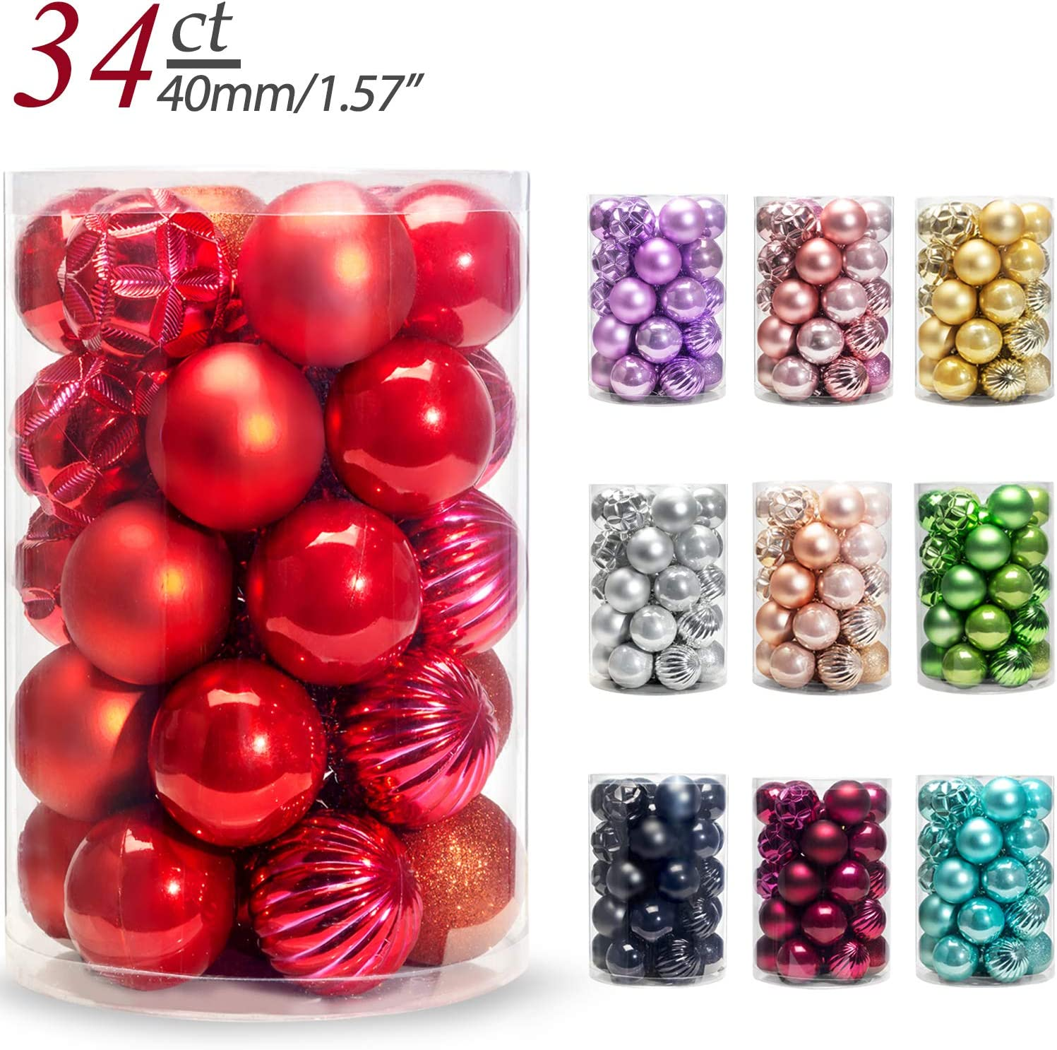 AMS Christmas Ball Mini Ornaments Party Decoration Shatterproof Festival Widgets Pendant Hanging Pack of 34pcs (40mm, Red)