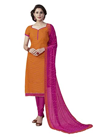 f2843393e5 Touch Trends Orange Embroidered Dress Materiall | Designer Salwar Kameez |  Free Size Unstitched Dress Material