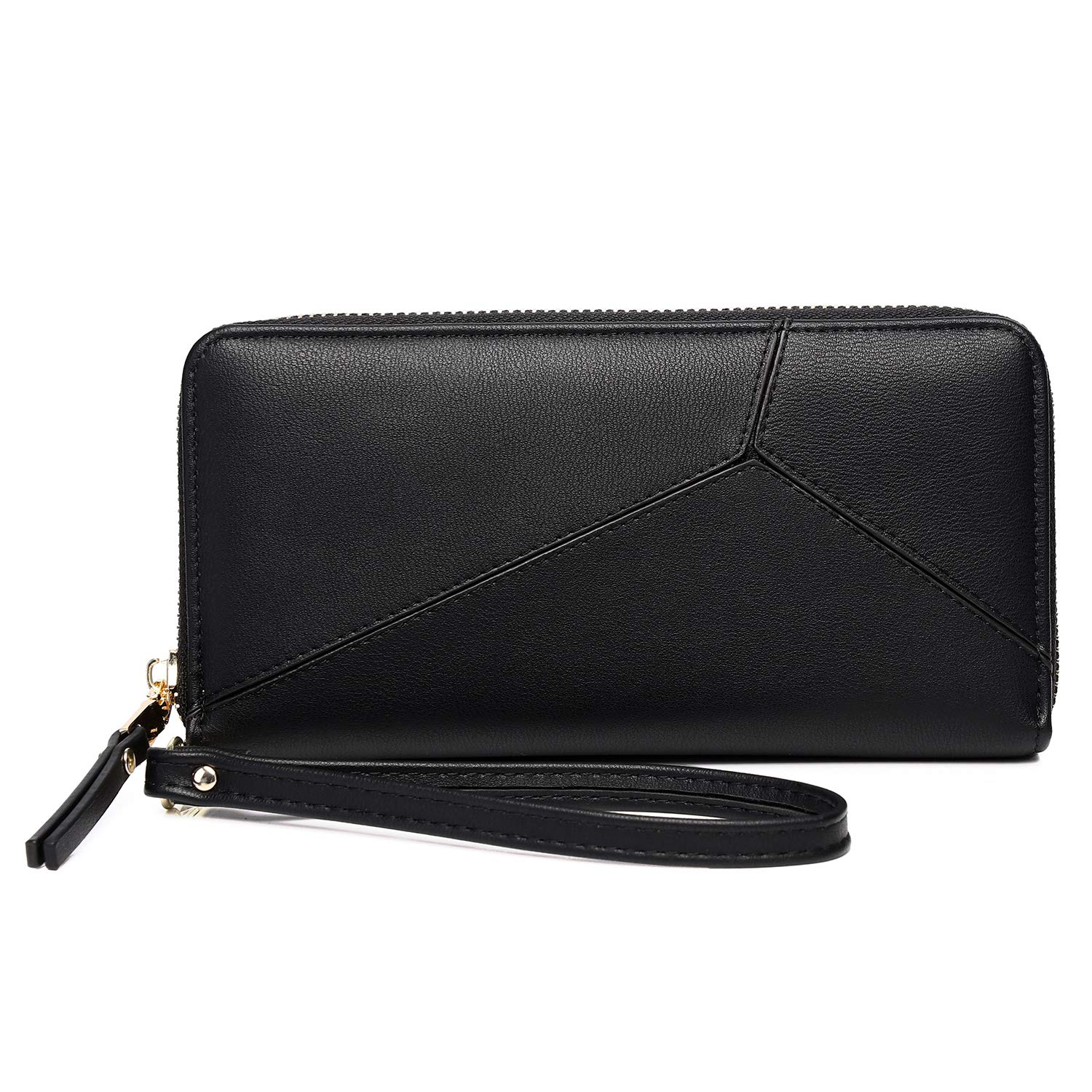 KOWENTIK Women Wallet Leather Zip Phone Clutch Large Travel Organizer Zipper Coin Purse Wristlet (Wallet Type4-Black)