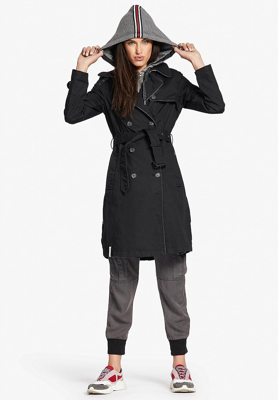 Khujo Halina Manteau avec capuche amovible pour femme Noir