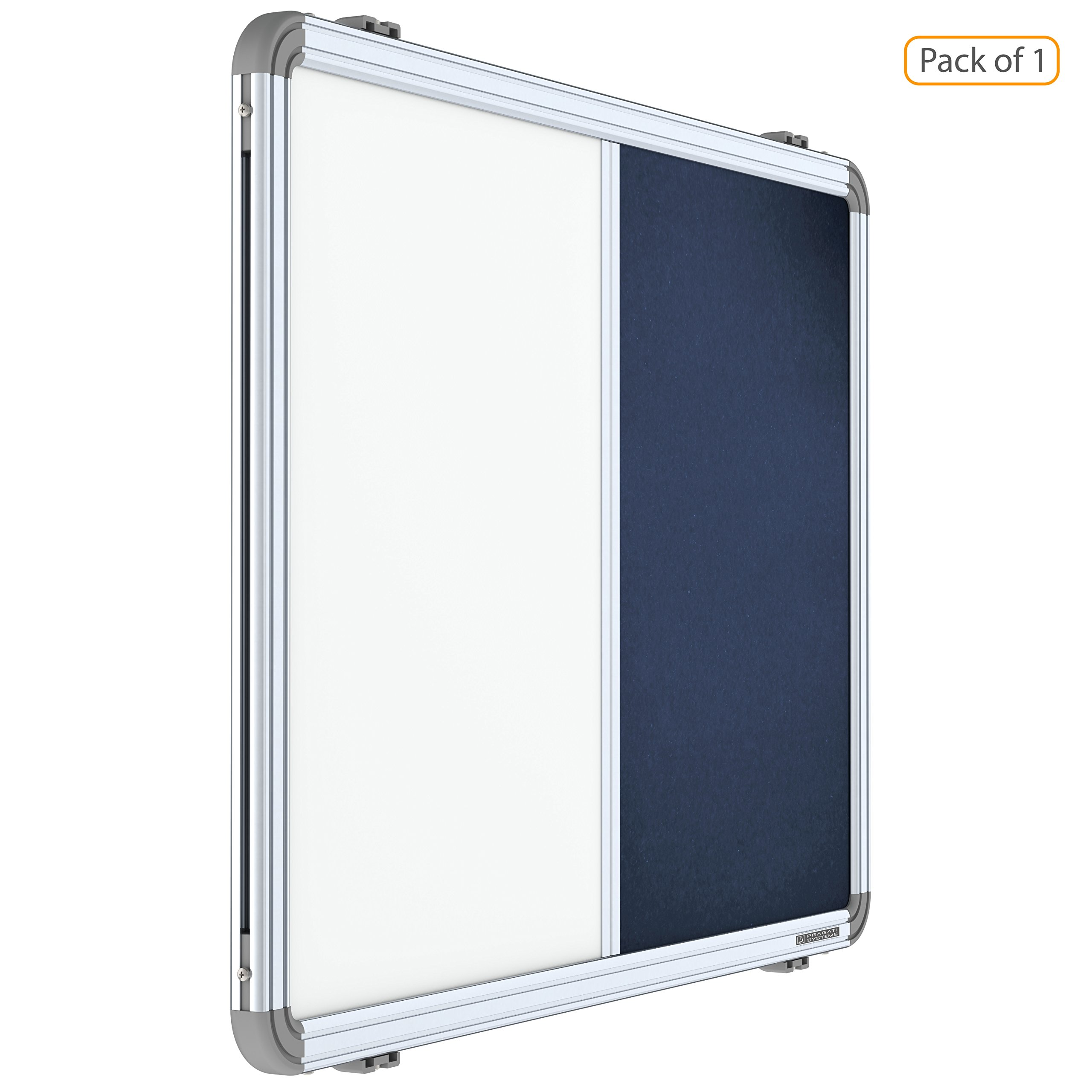 Pragati Systems® Prima Combination Board (Magnetic Whiteboard with Blue Pin-up Notice Board) for Home, Office & School, Heavy-Duty Aluminium Frame, 2x3 Feet (Pack of 1) product image