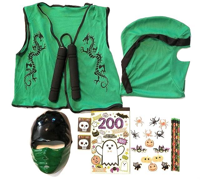 Amazon.com: Green Ninja Costume Halloween Kids Pretend Play ...