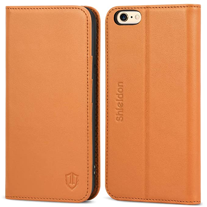 amazon com shieldon genuine leather iphone 6 wallet folio case bookshieldon genuine leather iphone 6 wallet folio case book design with kickstand and id credit card