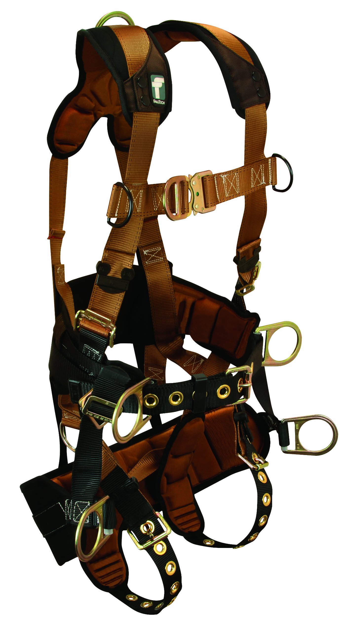 FallTech 7084M ComforTech TowerClimber Full Body Harness with 6 D-Rings, Waist Pad, Padded Work Seat, Tongue Buckle Legs and Quick Connect Chest, Brown/Black, Medium