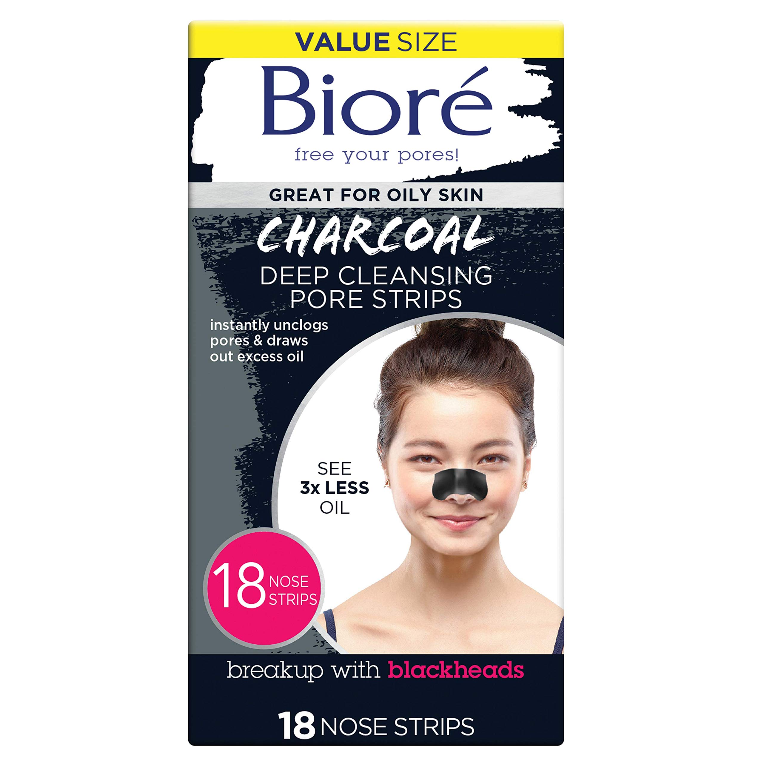 Bioré Blackhead Removing and Pore Unclogging Deep Cleansing Pore Strip with Natural Charcoal, 18 Count by Bioré