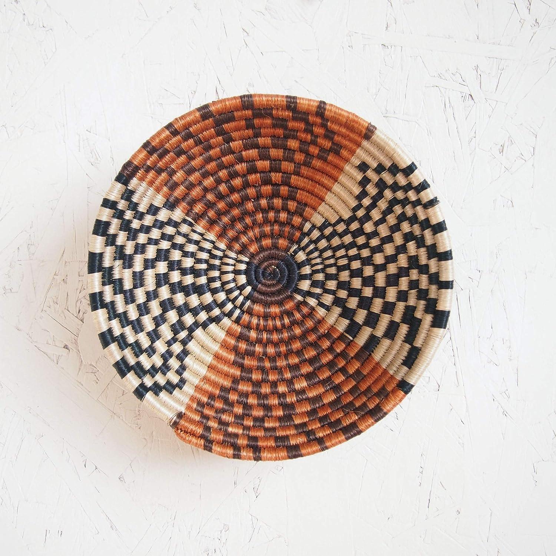Small African Basket- Muko/Rwanda Basket/Woven Bowl/Sisal & Sweetgrass Basket/Black, Creme, Dusty Orange, Brown