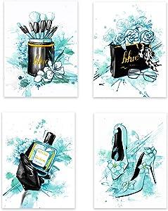 Lodintech Women Fashion Canvas Wall Art,Teal Girls Bedroom Wall Decor,Flower Perfume Modern Art Posters High Heels Makeup Brush Handbag Prints Wall Pictures Black Teal Fashion Poster Unframed,8x12''