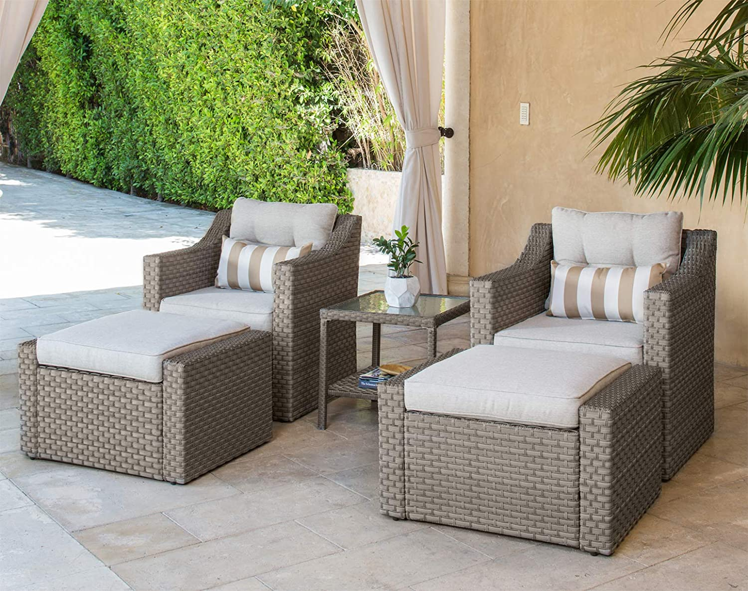 Solaura patio sofa sets 5 piece outdoor furniture set grey wicker lounge chair ottoman with neutral beige olefin fiber cushions glass coffee side table