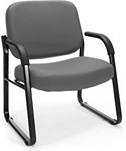OFM Core Collection Big and Tall Guest and Reception Chair with Arms, in Gray