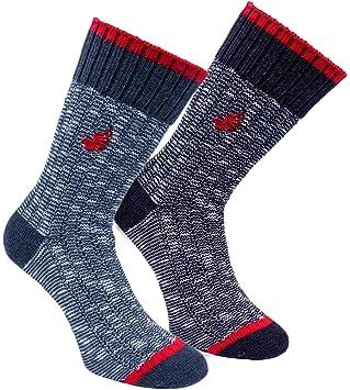 4 unidades Brubaker Hombre, calcetines para botas, noruegos, lana, Blau Navy, 41-46: Amazon.es: Deportes y aire libre