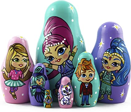 russian nesting doll Set Of 5 Hand made 5 inchs tall wood glitter US Seller