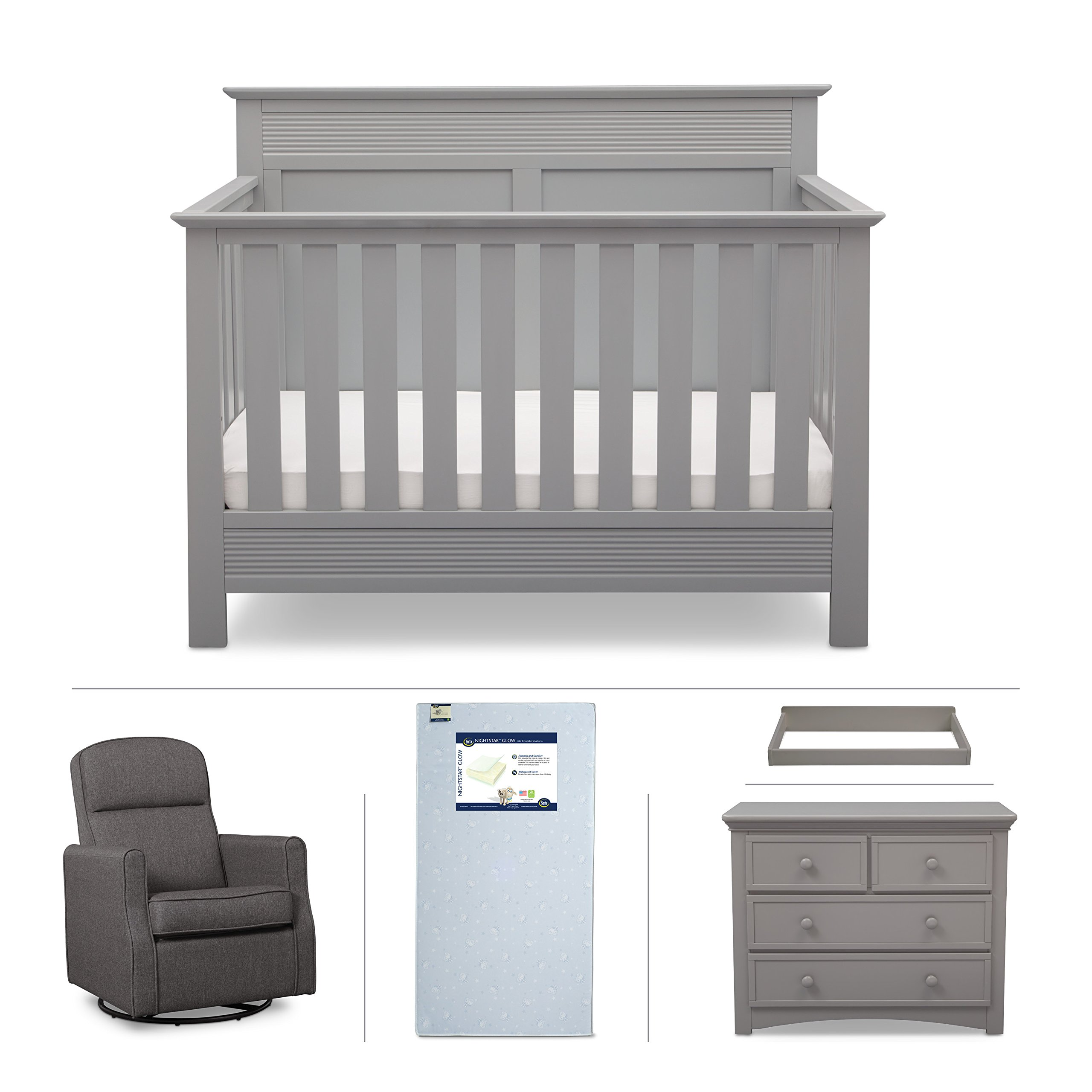 Convertible Crib Furniture Set – 5 Piece Nursery with Crib Mattress, Convertible Crib, Dresser, Glider Rocker, Changing Top – Grey/Gray