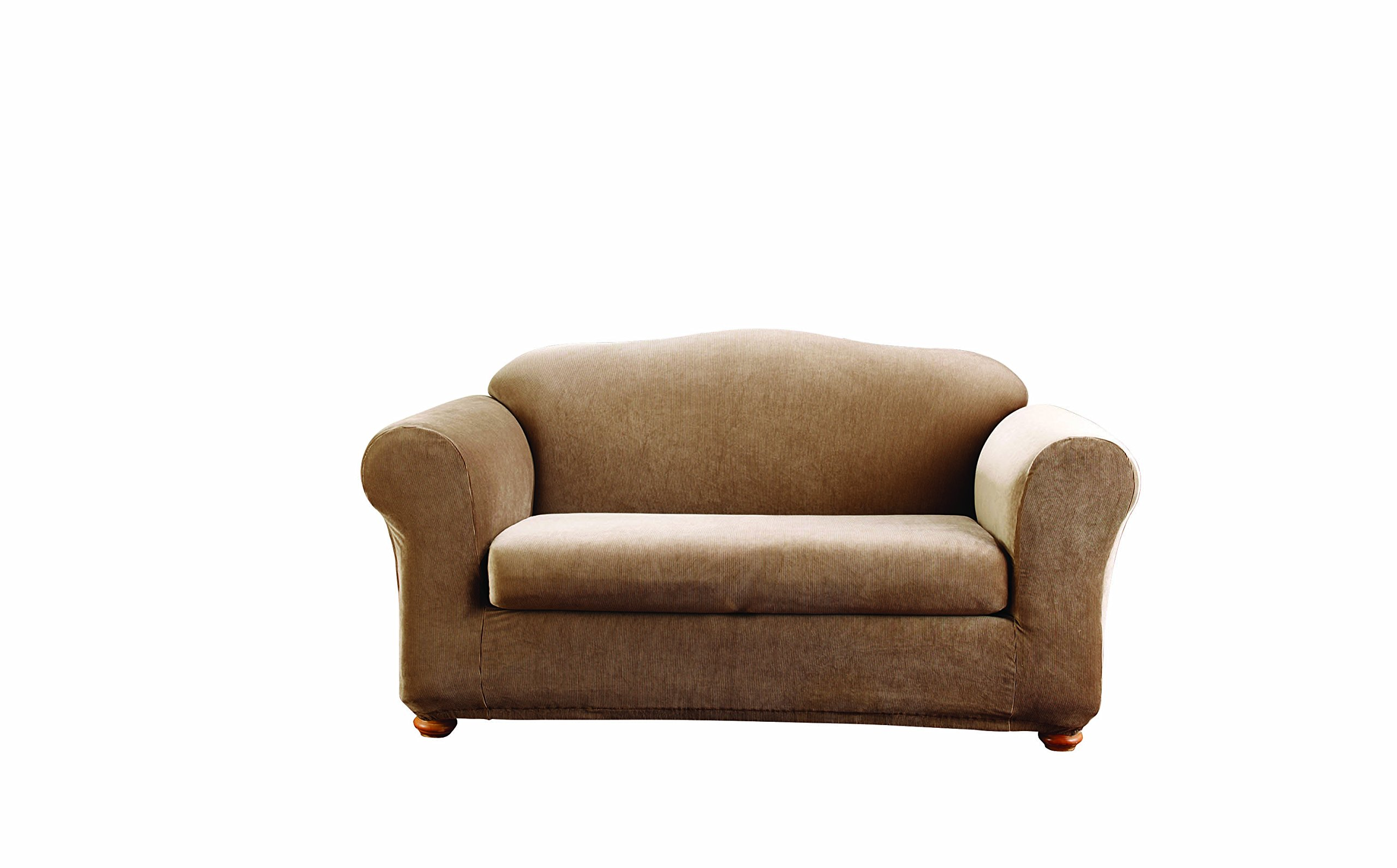Sure Fit Stretch Stripe 2-Piece - Sofa Slipcover  - Brown (SF37630) by Surefit