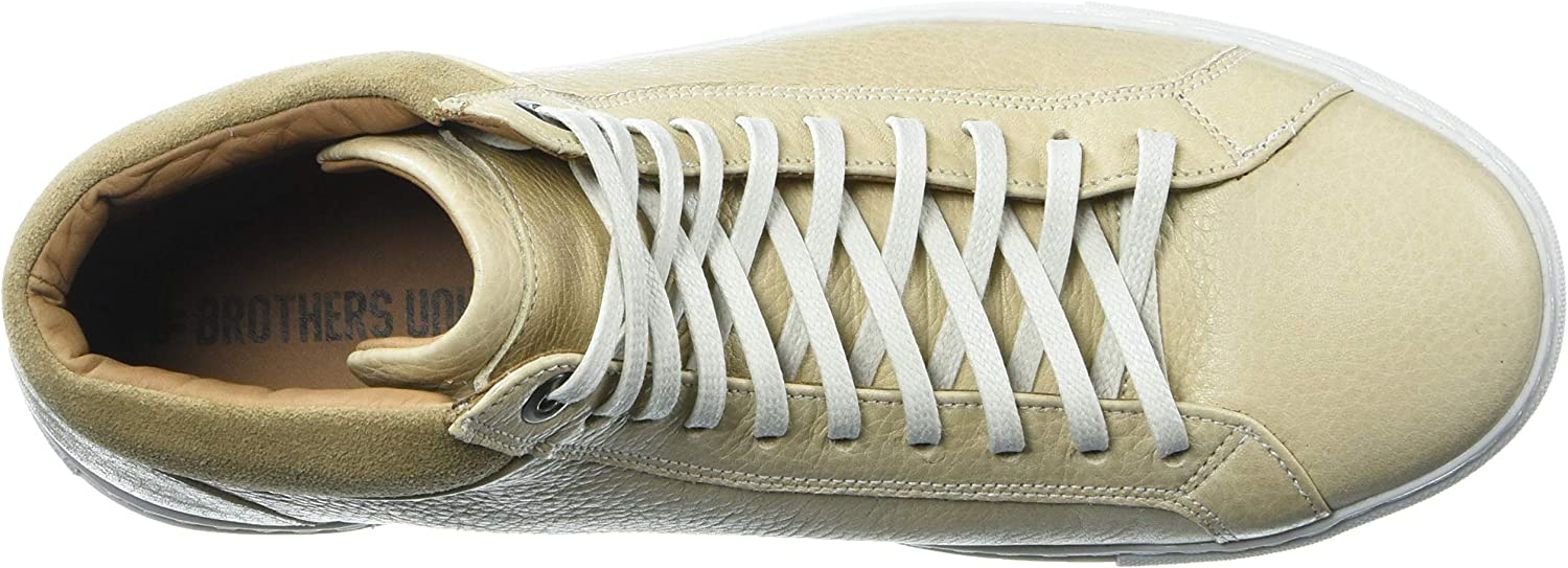 Brothers United Men's Leather Fashion Lace Up Sneaker Taupe Grainy