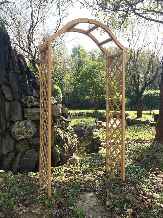 Arco de madera para jardín pérgola enrejado planta apoyo arco en jardinería flores: Amazon.es: Hogar