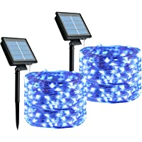 Outdoor Solar String Lights, 2 Pack 33 Feet 100 Led Solar Powered Fairy Lights with 8 Lighting Modes Waterproof…