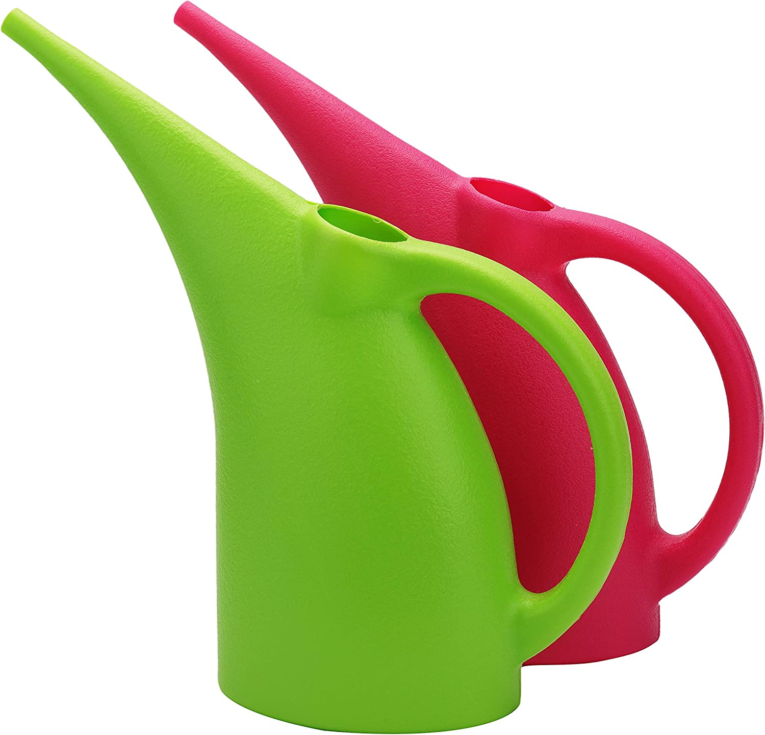 Fasmov 2 Pack 1/2-Gallon Plastic Watering Can Watering Pot (Green & Red)