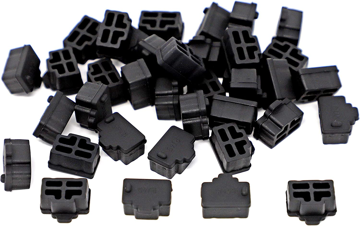 100 Pcs Black Ethernet Hub Port RJ45 Anti Dust Cover Cap Protector Plug