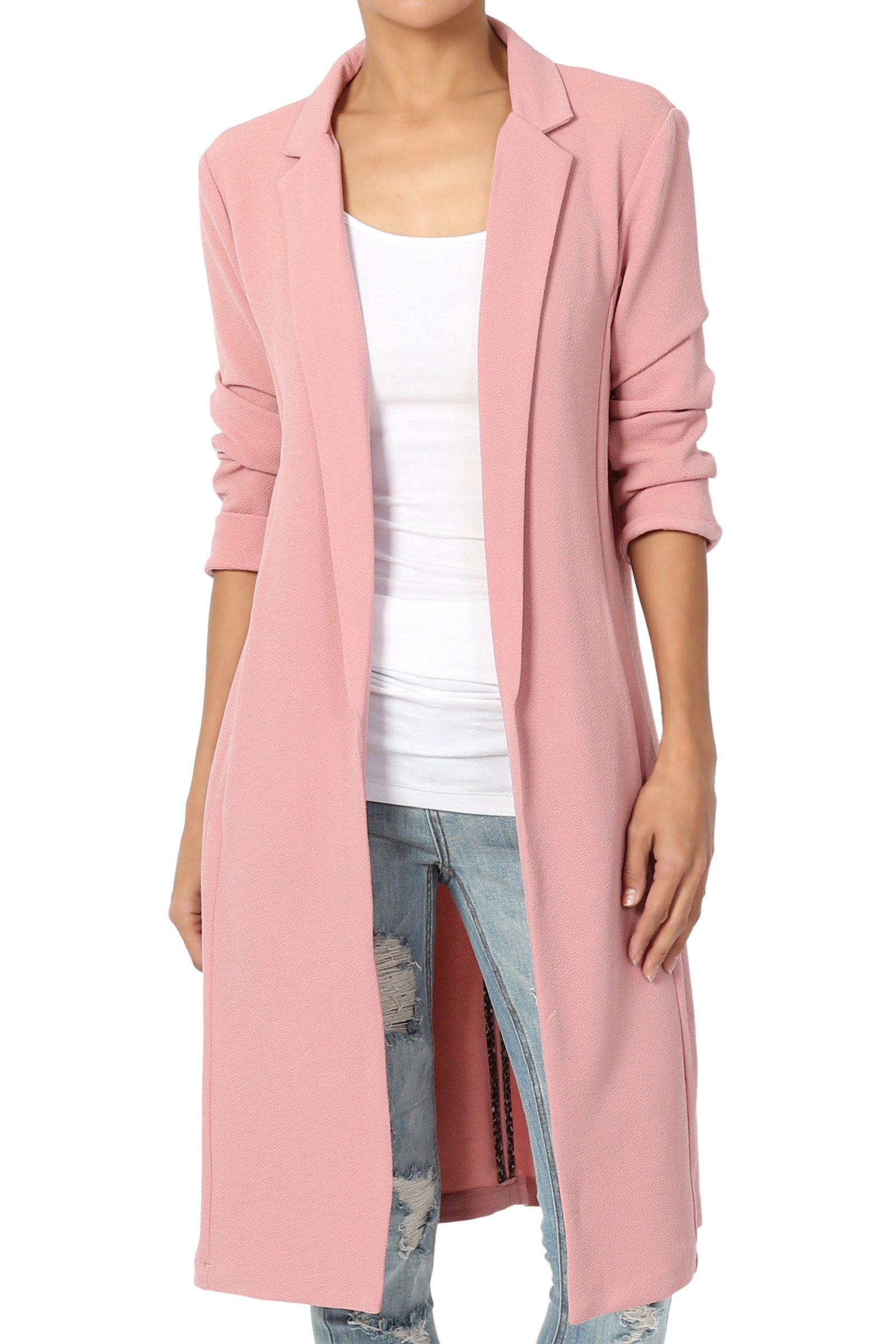 TheMogan Junior's Young Contemporary Layer Longline Jacket Dusty Rose L
