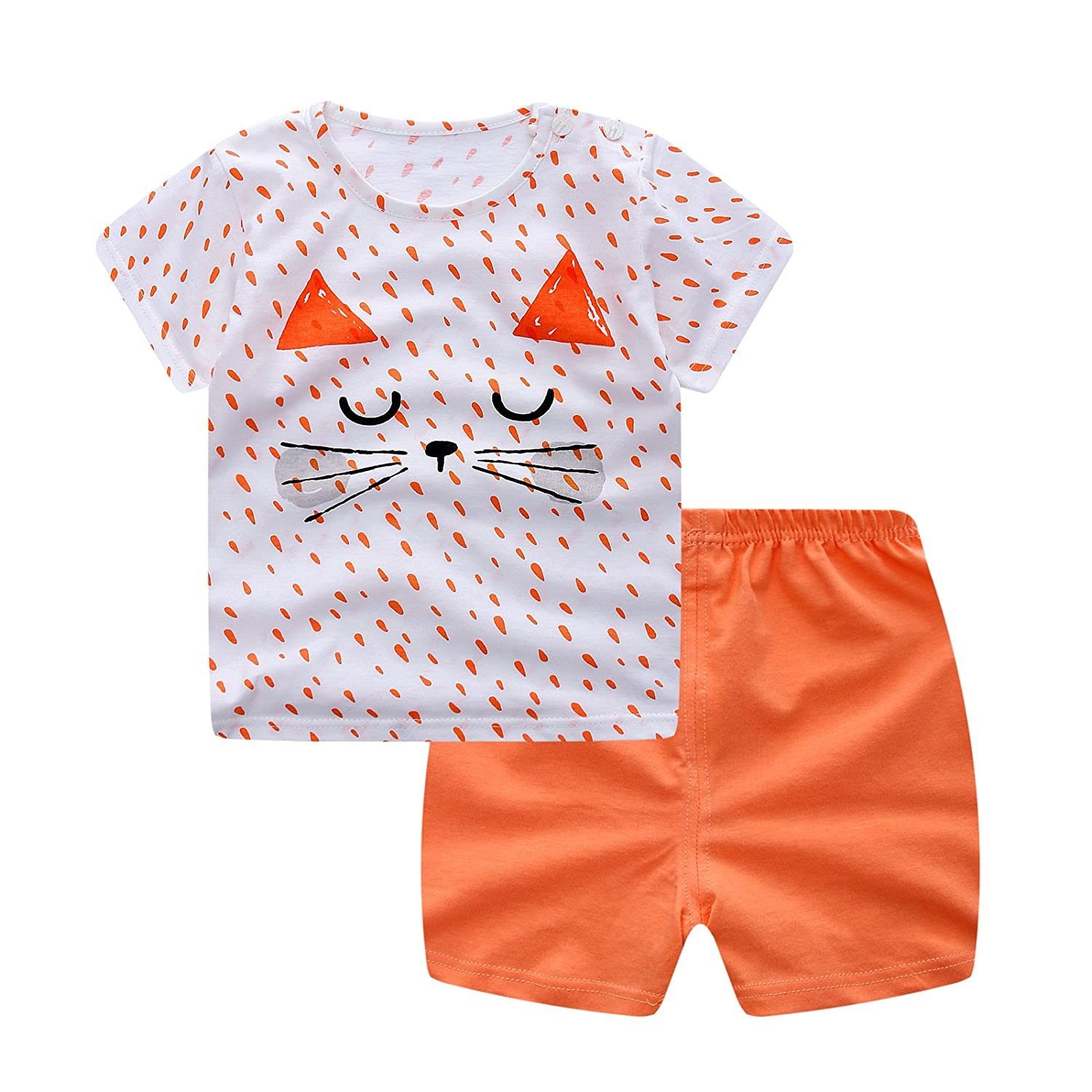 MSSuger Baby Girls' Cotton Clothing Short Baby Set Summer Cute Cartoon T-Shirt+Pant
