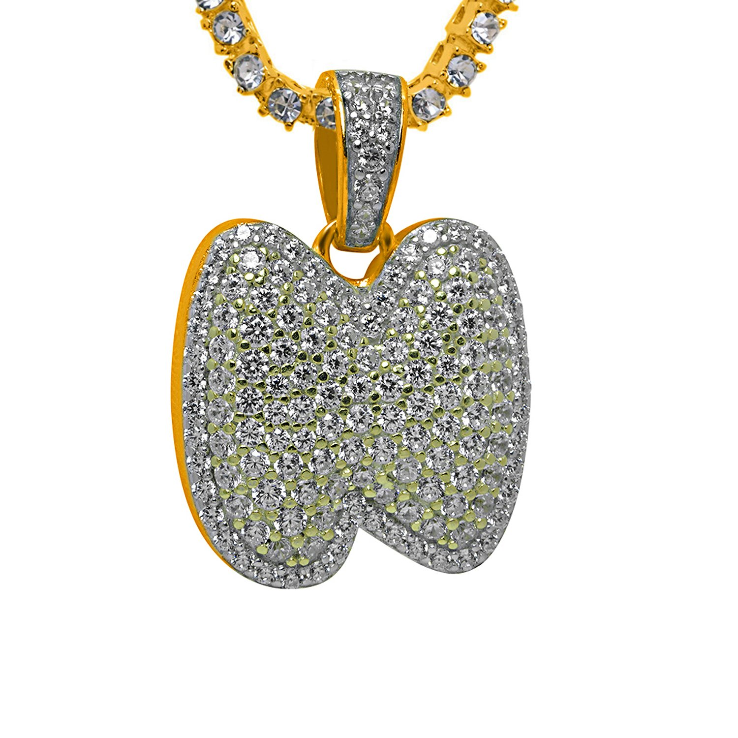 925 Sterling Silver Yellow Gold-Tone Iced Style Hip Hop Swag Bling Bubble Letter N Pendant with 16 1 Row Chain