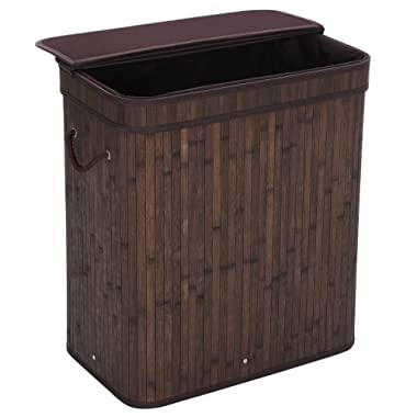 SONGMICS Bamboo Laundry Hamper 100L Dirty Clothes Storage Basket with Lid Liner and Handles Rectangular Dark Brown ULCB63B